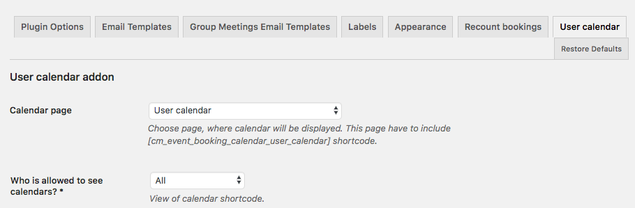 User Calendar Add-on - Booking Information - Add-on Settings 1/2