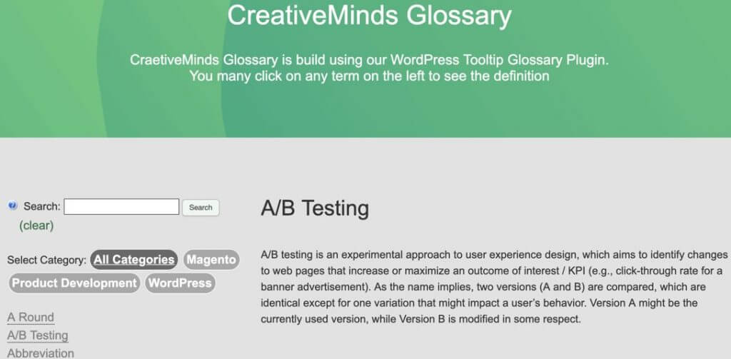 Tooltip Glossary - Example of the Tooltip Glossary Index Page - The 5 Best Tooltip Glossary Plugins To Explain Terms In WordPress