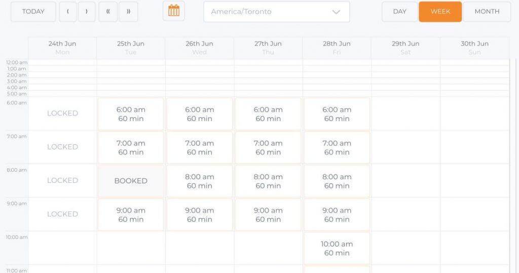 Booking Calendar Frontend Display