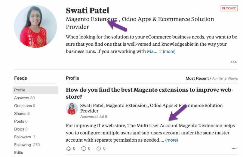 Swati Patel Escoprien CEO which opened a profile on Quora to promote stollen software