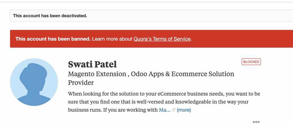 Swati Patel Quora Profile after contacting Quora - Software Piracy: Actions To Take Once Discovering your Software and Content Was Illegally Copied
