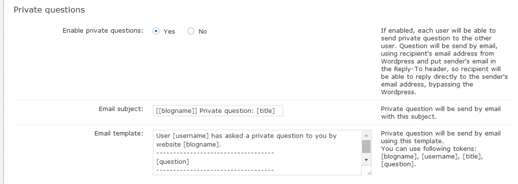 Private Question Settings - Keep it Private!