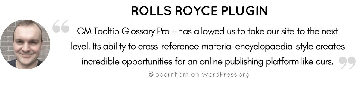 Rolls Royce Glossary Plugin Testimonial