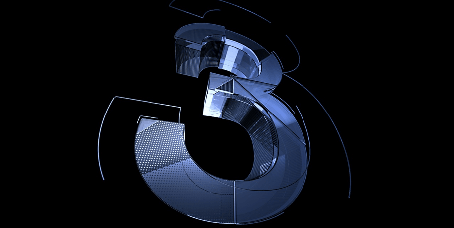 Graphic of the number 3, made to look shiny and chrome