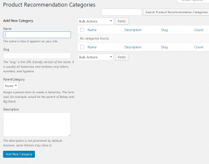 Add New Product Recommendation Categories