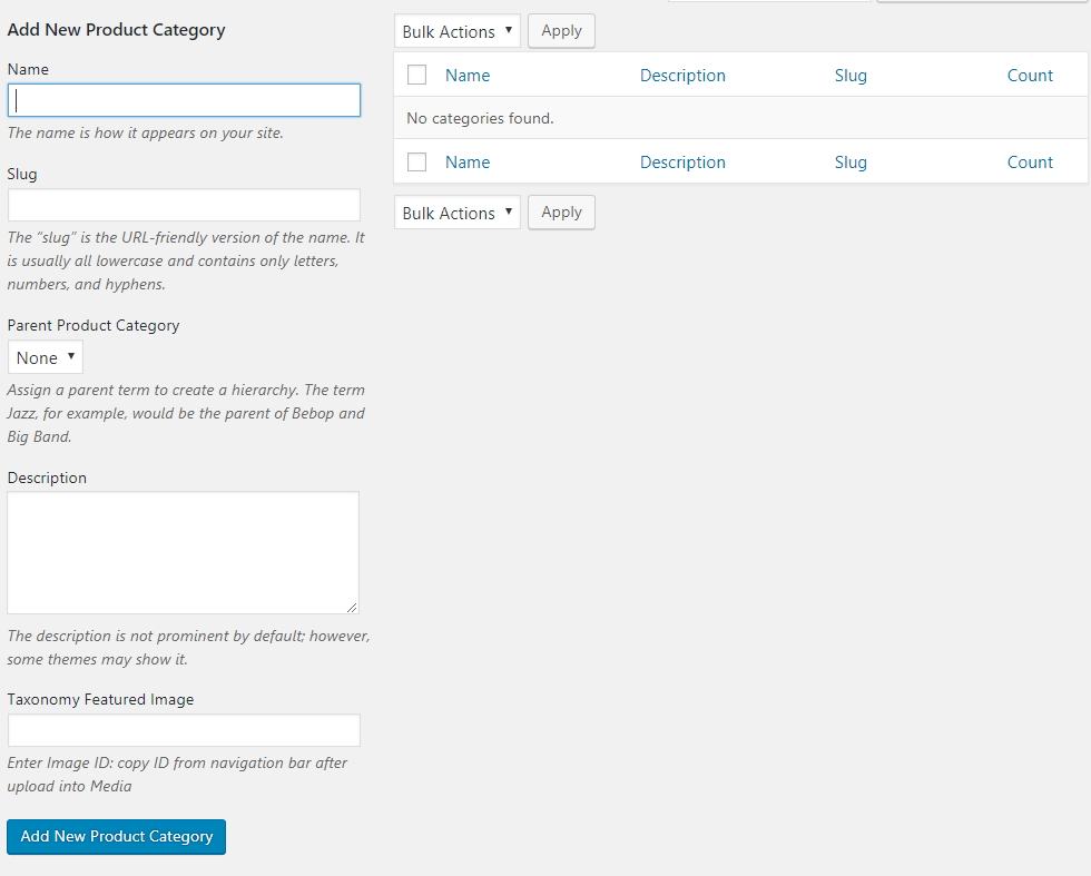 Categories-Add New Product Category