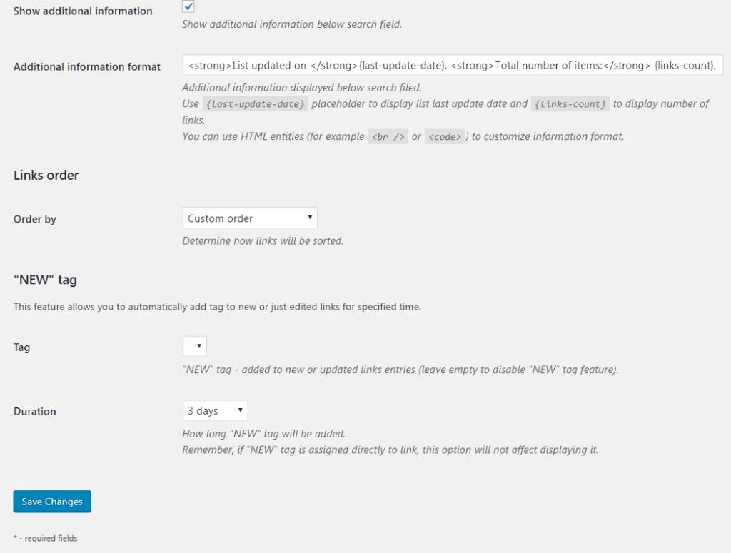 Bookmarklet-Link order,NEW tag