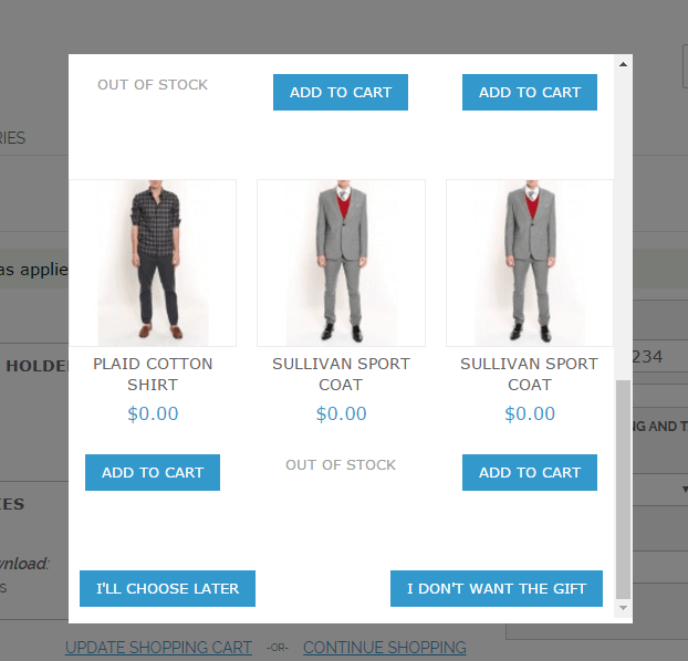 Showing a Popup with free products offering on checkout