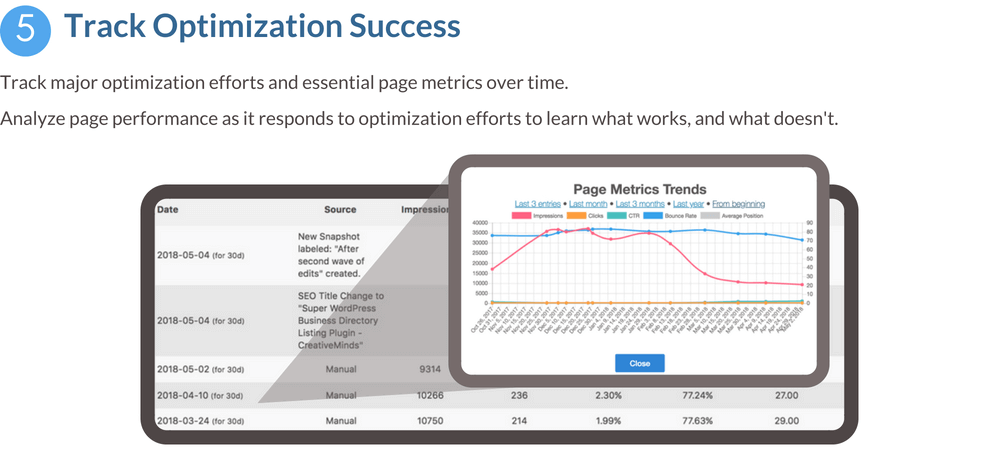 Track optimization success feature banner