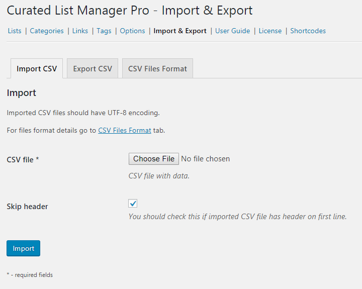 Import CSV