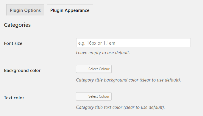 Plugin Appearance-Categories