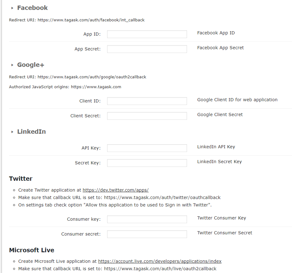 Settings-Social Login