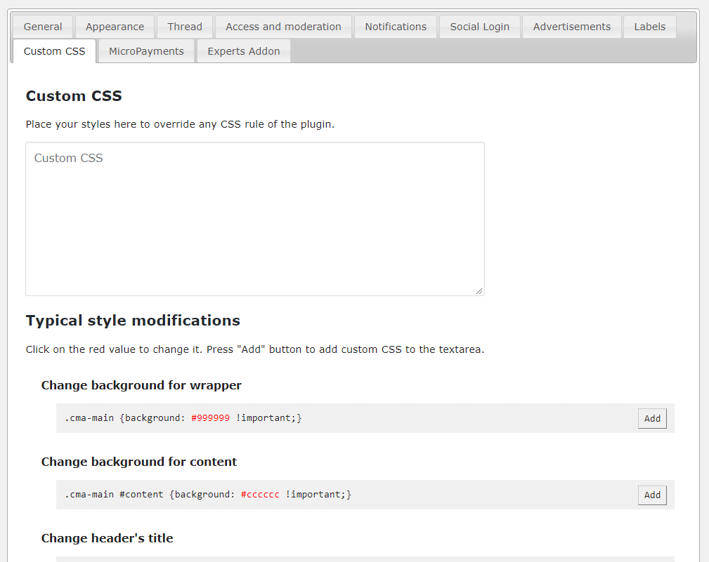 Settings-Custom CSS
