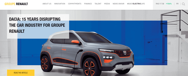 Renault Web - Top 10 Types of Website You Can Create With WordPress in 2020