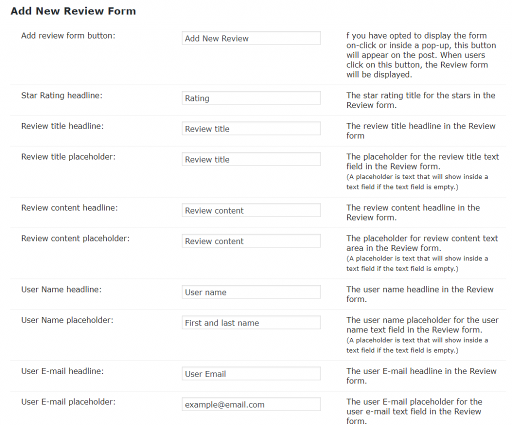 Labels-Reviews-Add New Review Form