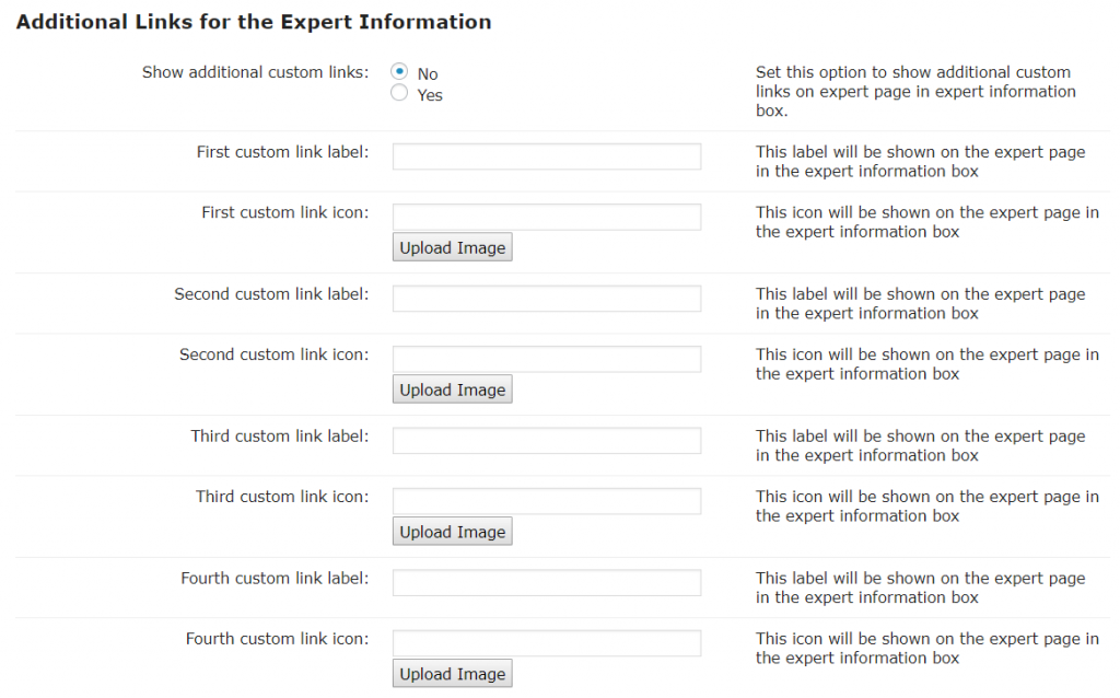Expert Page-Additional Links for the Expert Info.