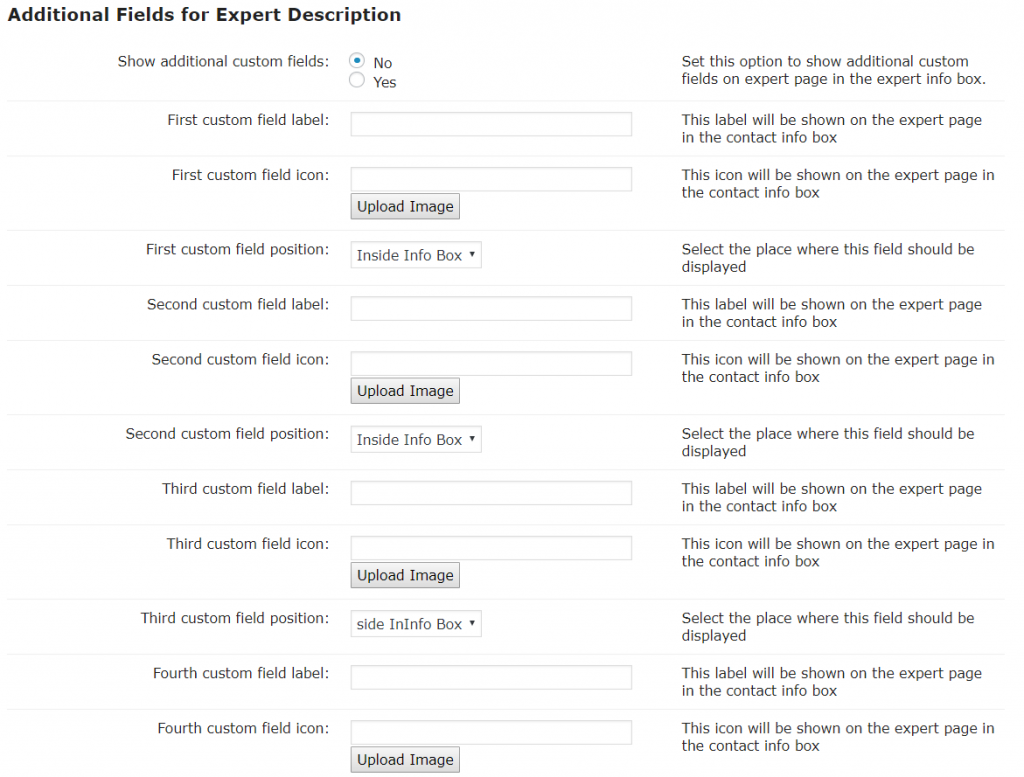 Expert Page- Additional Fields
