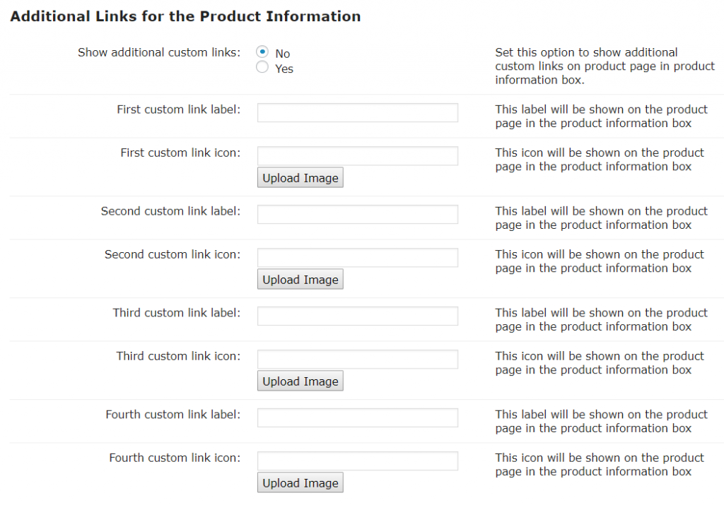 Product Pages-Additional Links for the Product Information
