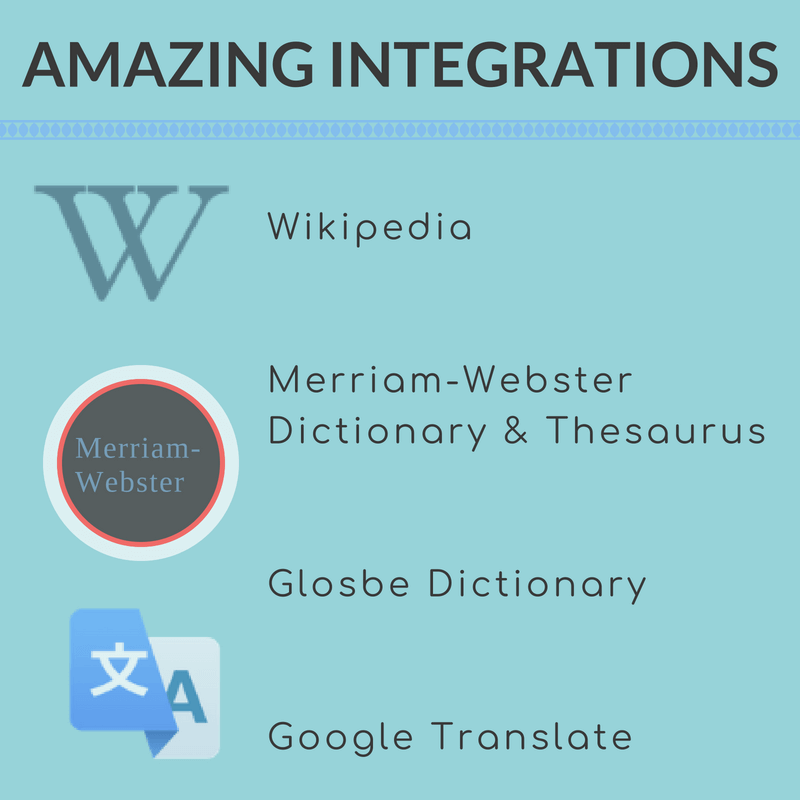 Display Merriam-Webster Dictionary or Thesauraus, Glosbe Dictionary, Google Translate, or Wikipedia content in your pop up tooltips and term definitions