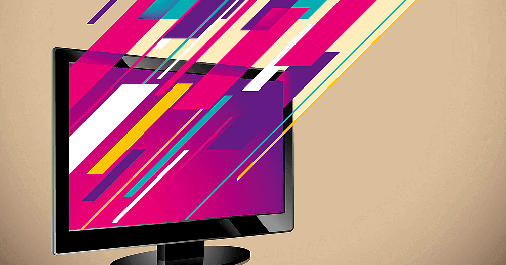 Image of a computer monitor emitting colorful lines from the screen to represent the diversity of video content.