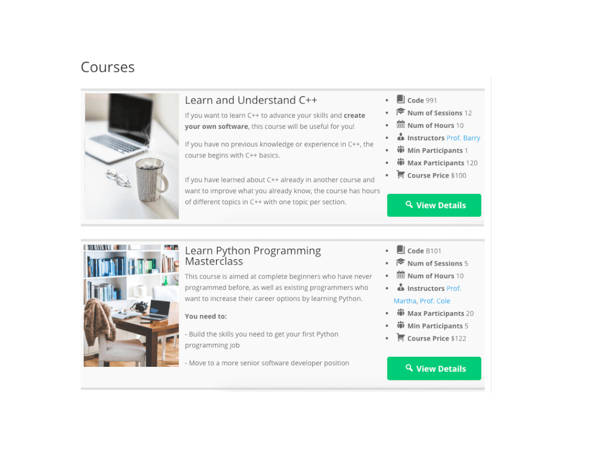 Add Courses with Shortcodes - Course Catalog Plugin Images