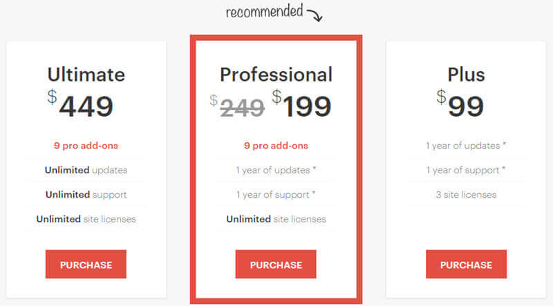 Affiliate WP's pricing structure