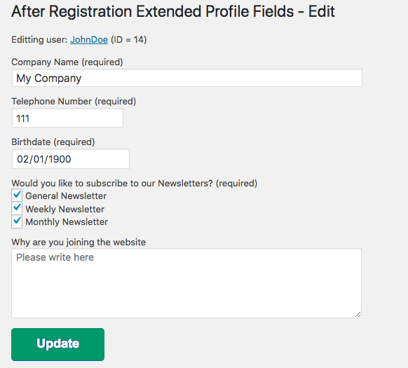 Admin editing the extended profile fields of a user