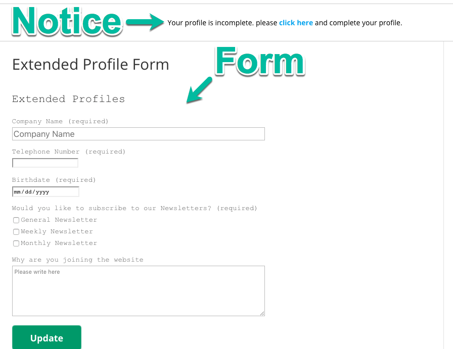 Page with the notice and the form, both highlighted here