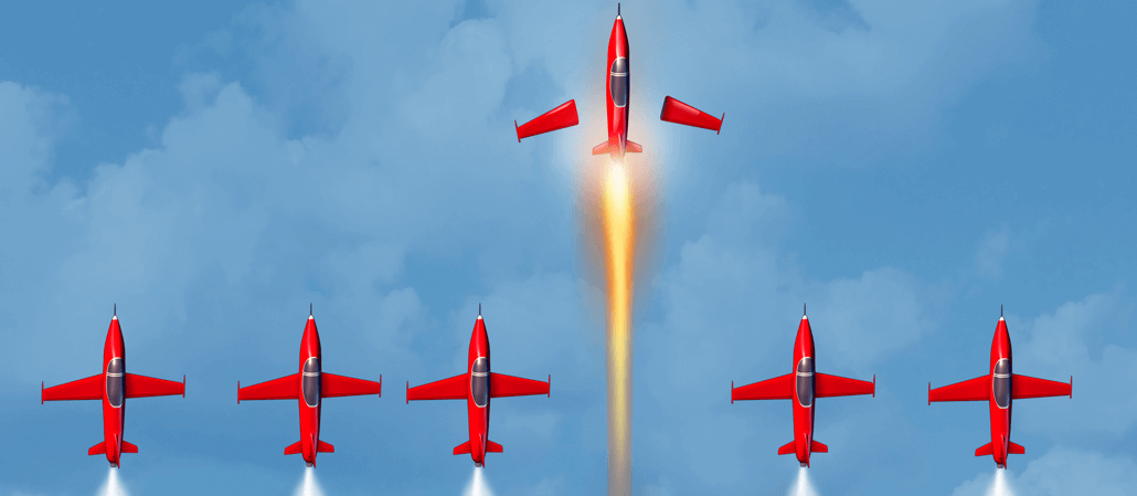 An image of a plane rocketing ahead of others to represent using Ecommerce predictions to surpass the competition.