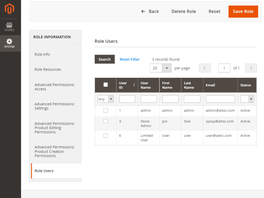 Advanced Permissions screenshot - The Ultimate List of Magento Multi-User Account Extensions