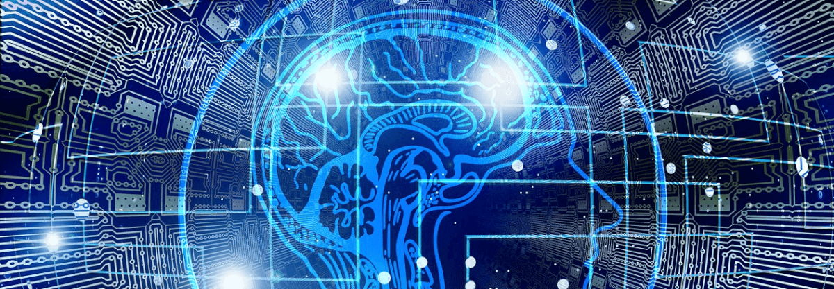 Image of a brain with blue lights and pulses, representing artificial intelligence (A.I).