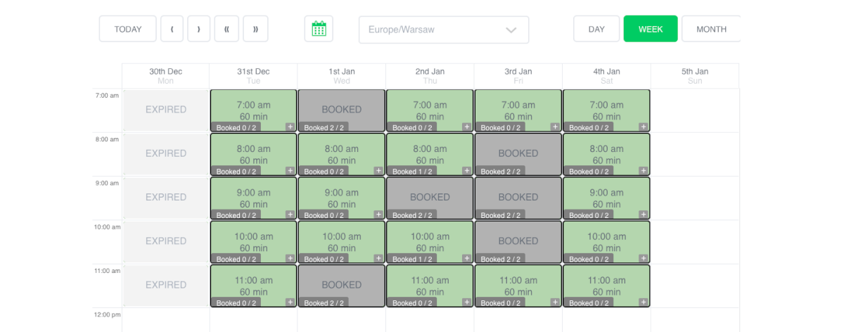 Booking Calendar Example Solution Page