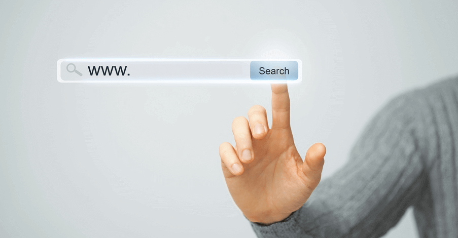 A hand touching a floating search-bar browser to find WordPress themes