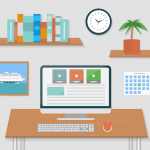 Drawing of a busy computer desk to represent website building