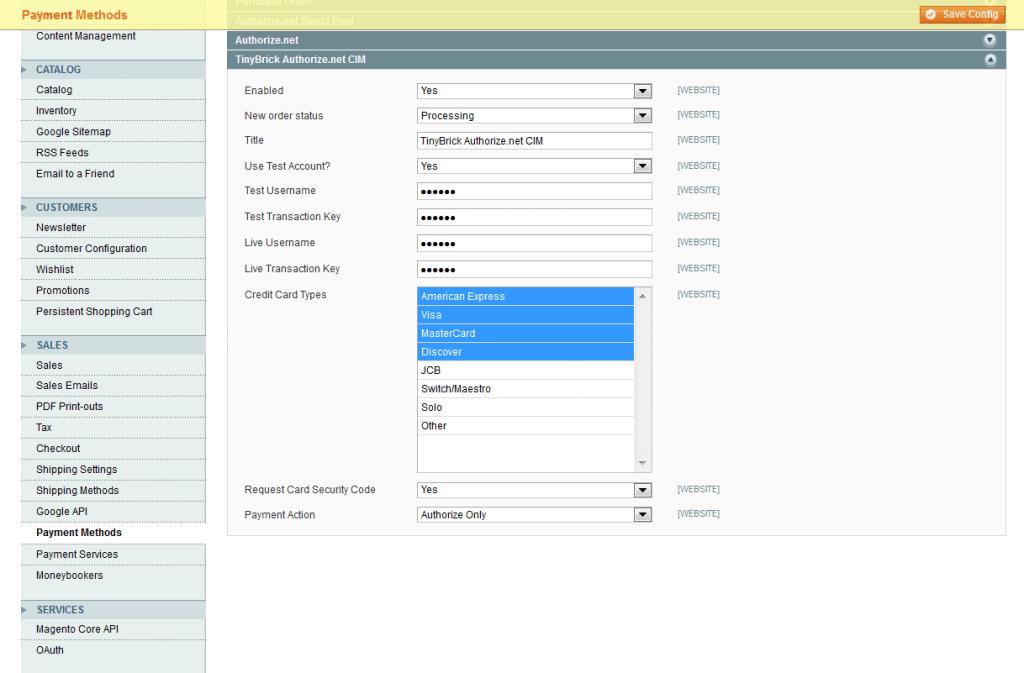 Admin Settings Options