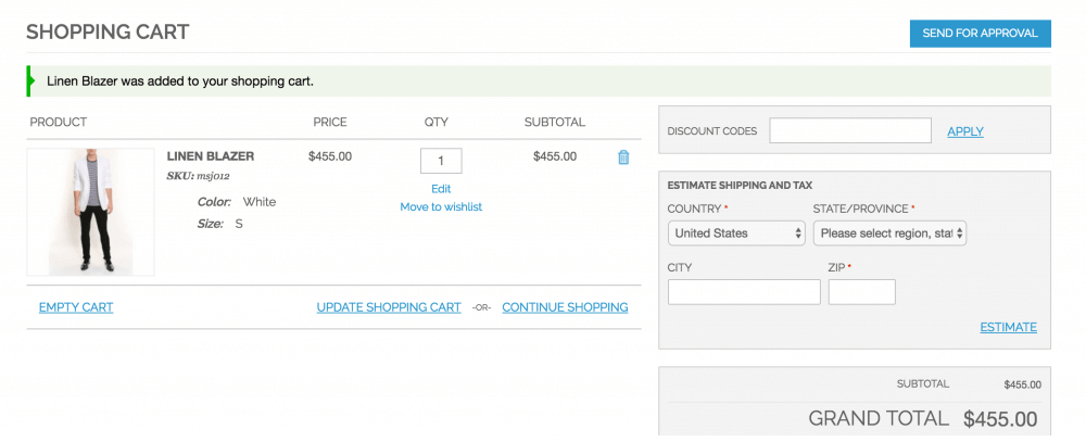An example of the Send Approval page from the CreativeMinds Multi  User Account Magento extension