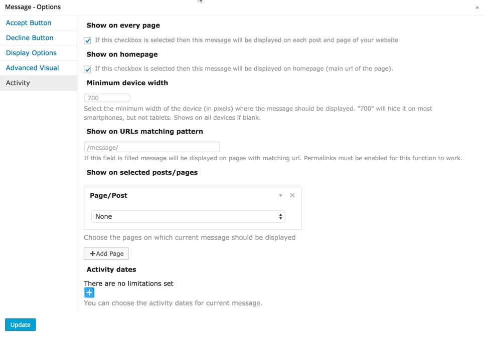 CM Welcome Message And Disclaimer Activity Settings