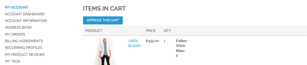 An example of the Cart Approval page from the CreativeMinds Multi-User Extension on Magento