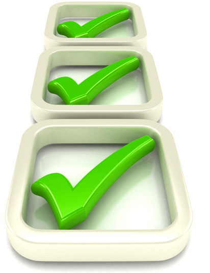 Image of a checklist with each box containing a green check mark, representing a list for preparing a holiday Ecommerce strategy
