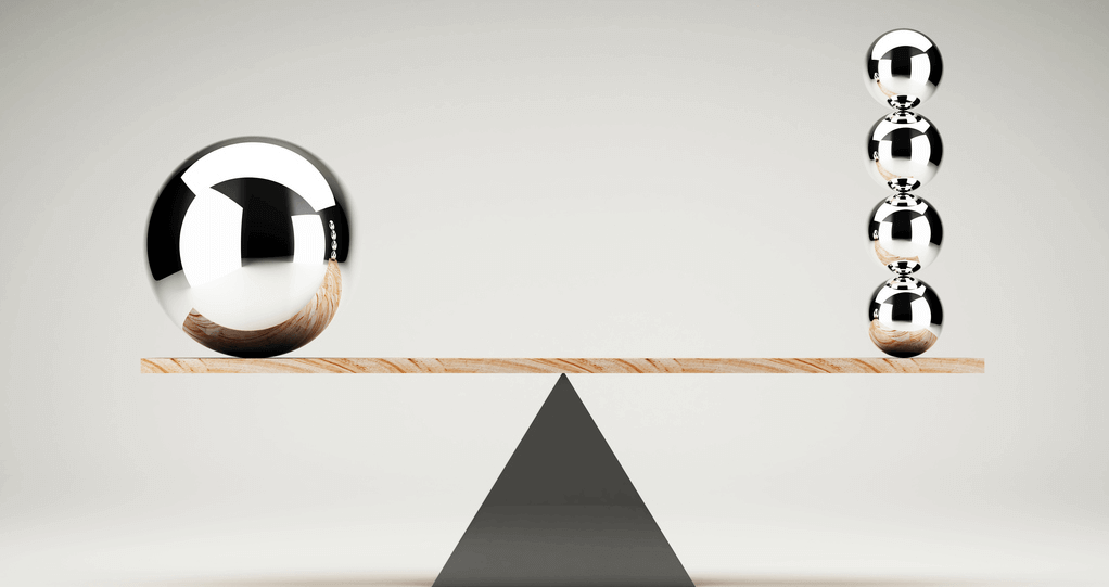 Picture of a scale balanced by one large ball on one side, and four small balls on the other, demonstrating unlike things having equal value, like WordPress and Magento
