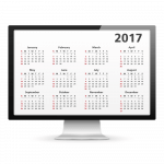 Image of a computer monitor displaying a calendar for the year 2017