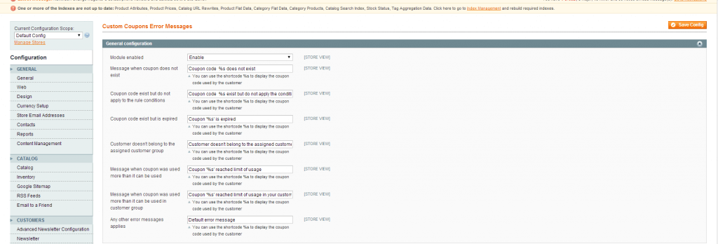 Configuration System screenshot of the Magento Admin module.