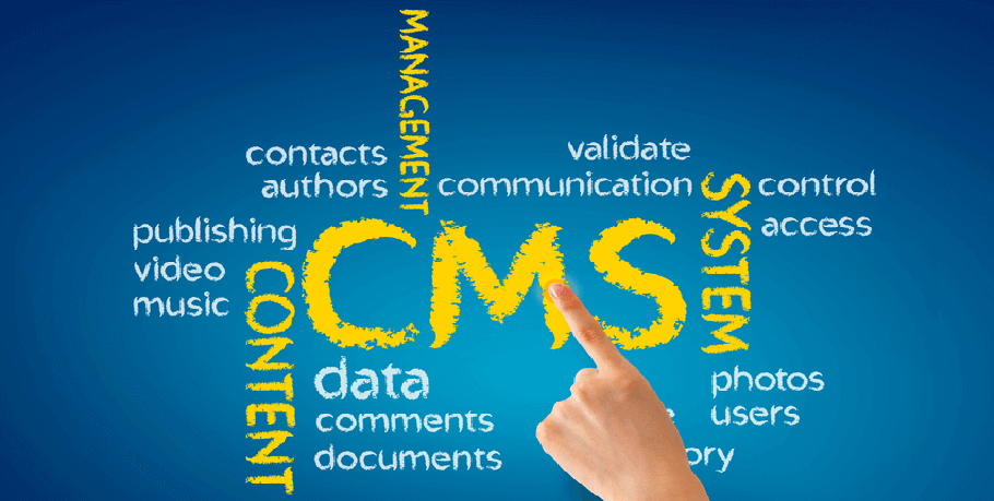 "Graphic of a finger touching the letters ""CMS"" amidst other words that describe content management systems"