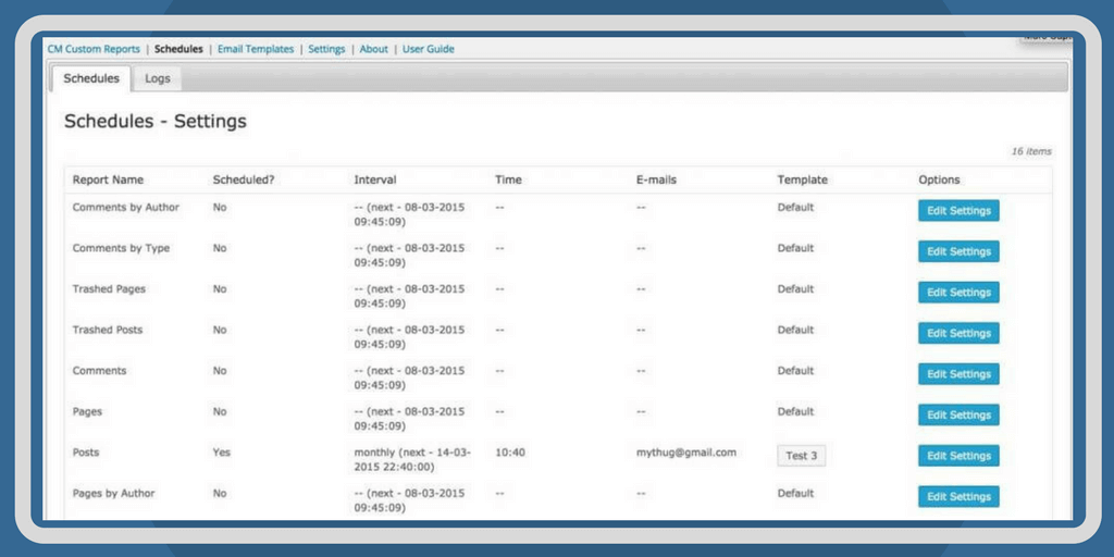 Dashboard Showing Scheduled Reports and Due Date.