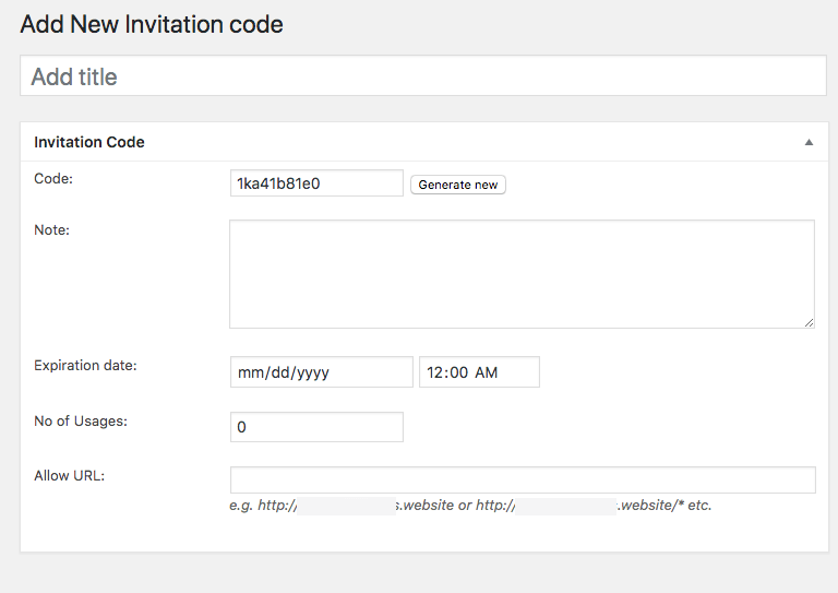 Invitation Code Content Access - Create Single Invitation Code