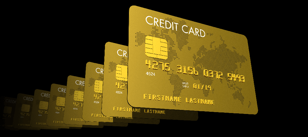 Image depicting a series of identical Credit Cards in a line..