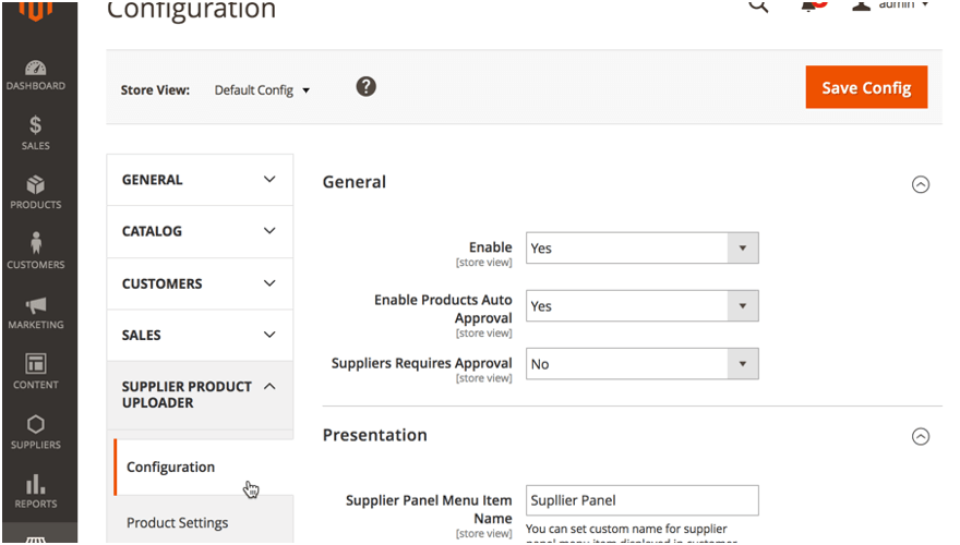 Image of a front-end dashboard configuration screen to manage viewable store content