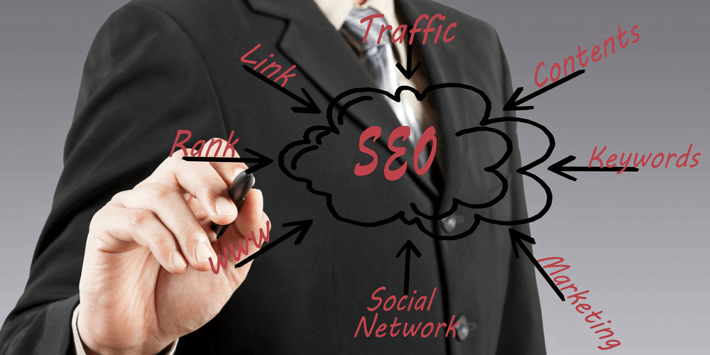 Image of the word SEO and its components floating in front of someone wearing a suit