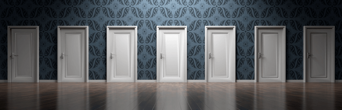 Image of multiple doors, representing the decision between Magento Marketplaces