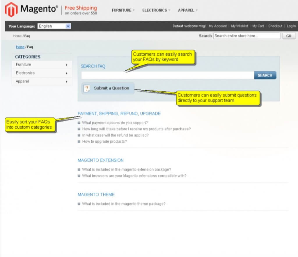 Top Magento FAQ extensions image